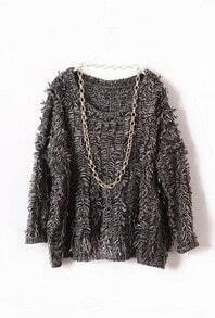 Grey Long Sleeve Batwing Tassel Pullovers Sweater