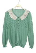 Green Long Sleeve Hollow Embroidery Cardigan Sweater
