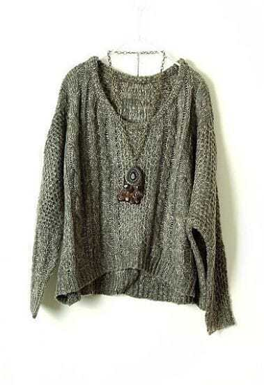 Grey Long Sleeve Batwing Wool Pullovers Sweater