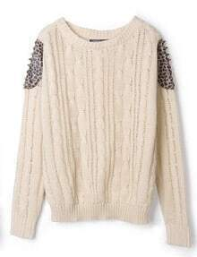 Apricot Long Sleeve Shoulder Contrast Leopard Rivet Sweater