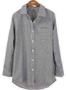 Black White Plaid Long Sleeve Pocket Shirt