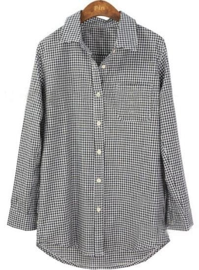 Black White Plaid Long Sleeve Pocket Shirt