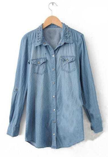 Dark Blue Long Sleeve Bleached Rivet Pockets Blouse
