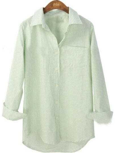 Light Green White Plaid Long Sleeve Pocket Shirt
