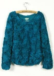 Turquoise Long Sleeve Chiffon Rosette Pullovers