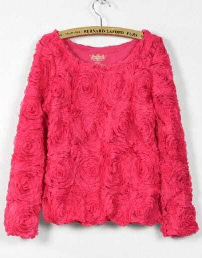 Coral Long Sleeve Chiffon Rosette Pullovers