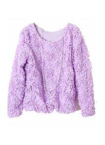 Violet Long Sleeve Chiffon Rosette Pullovers