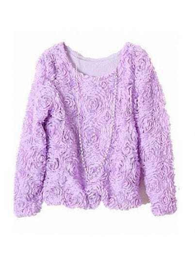 Violet Long Sleeve Chiffon Rosette Pullovers