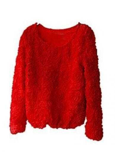 Red Long Sleeve Chiffon Rosette Pullovers