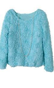 Light Blue Long Sleeve Chiffon Rosette Pullovers