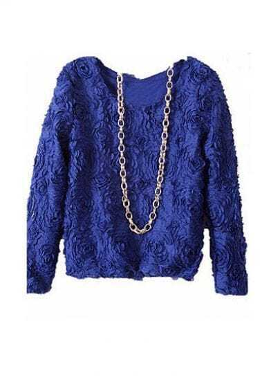 Royal Blue Long Sleeve Chiffon Rosette Pullovers