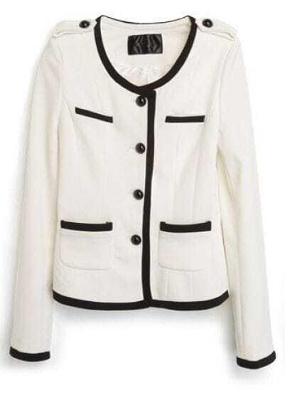 White Long Sleeve Contrast Trims Crop Suit