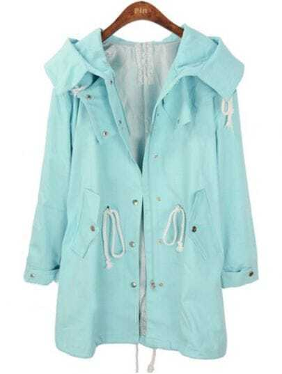 Blue Hooded Long Sleeve Pockets Trench Coat