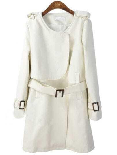 White Long Sleeve Drawstring Waist Epaulet Coat