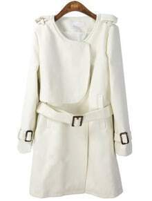 White Long Sleeve Drawstring Waist Epaulet Coat