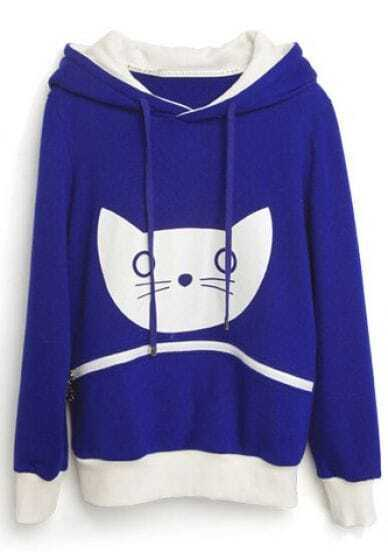 Blue Hooded Long Sleeve Cat Print Zipper Sweatshirt