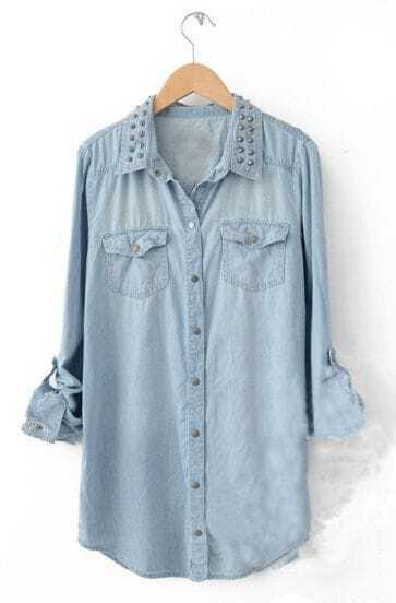 Light Blue Long Sleeve Bleached Rivet Pockets Blouse