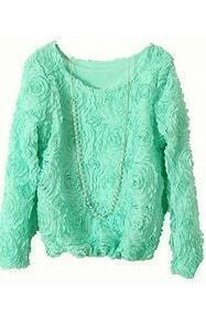 Mint Green Long Sleeve Chiffon Rosette Pullovers