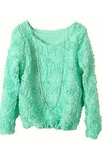 Mint Green Long Sleeve Chiffon Rosette Pullovers
