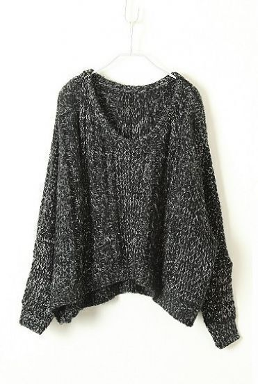 Black Long Sleeve Batwing Wool Pullovers Sweater