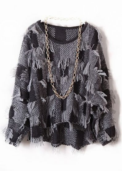 Grey Batwing Long Sleeve Tassel Loose Pullovers Sweater