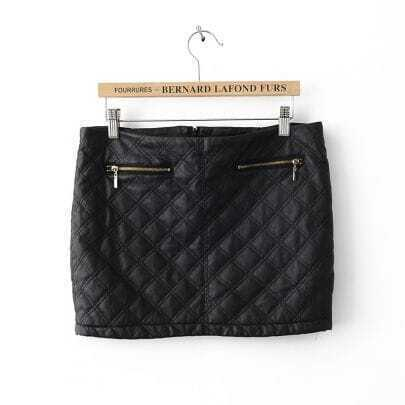 Black Zipper Embellished Stereoscopic Leather Skirt