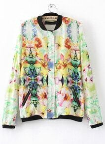 Floral Print Long Sleeve Collarless Jacket Outwear