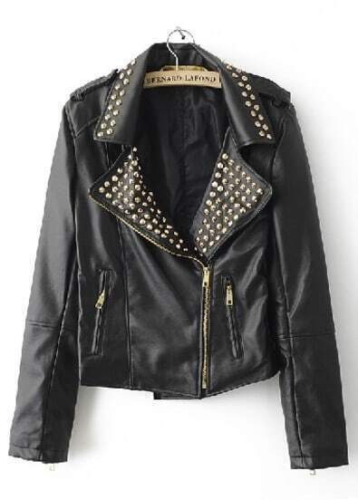Black Rivet Embellished Lapel PU Leather Jacket