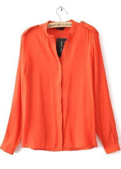 Orange V-neck Placket Long Sleeve Studded Blouse