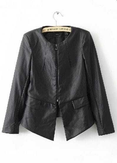 Black Round Neck Back Ruffle Hem PU Leather Jacket