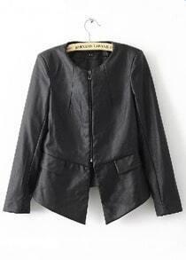 Black Round Neck Back Ruffle Hem PU Leather Jacket