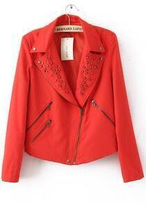 Red Lapel Long Sleeve Rivet Zipper Cotton Blends Outwear