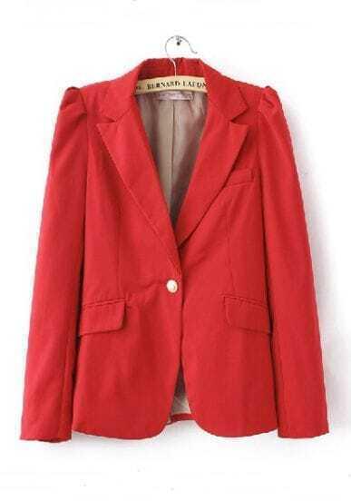 Red Shrunken Notch Lape Long Sleeve One Button Blazer