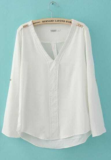 White Chiffon V Neck Studded Shoulder Roll Long Sleeve Blouses