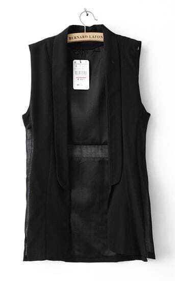 Black Sleeveless Shawl Collar Open Slim Waistcoat