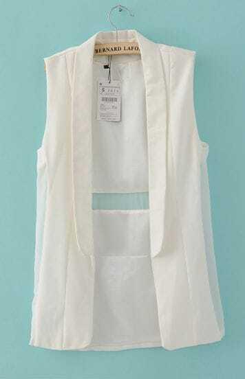 White Sleeveless Shawl Collar Open Slim Waistcoat