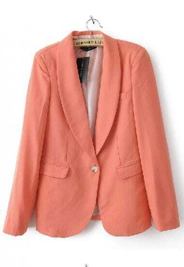 Rose Pink Shawl Collar Buttons Sleeve Pockets Slim Blazer