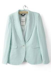 Light Green Shawl Collar Buttons Sleeve Pockets Slim Blazer