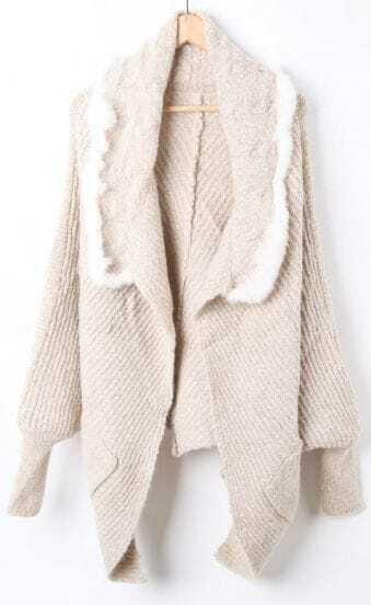 Beige Lapel Batwing Hollow Cape Cardigan Sweater