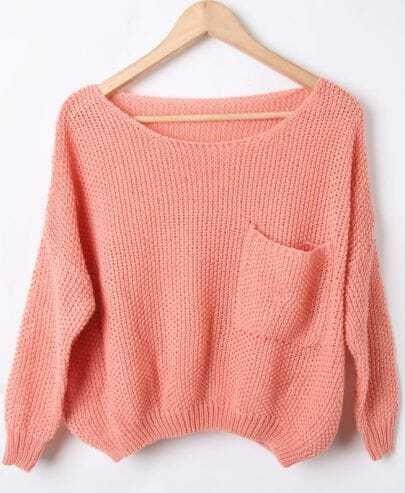 Pink Batwing Long Sleeve Pocket Embellished Sweater