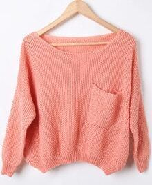 Pink Batwing Long Sleeve Pocket Embellished Sweater