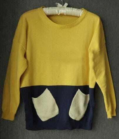 Yellow Long Sleeve Pockets Embellished Sweater
