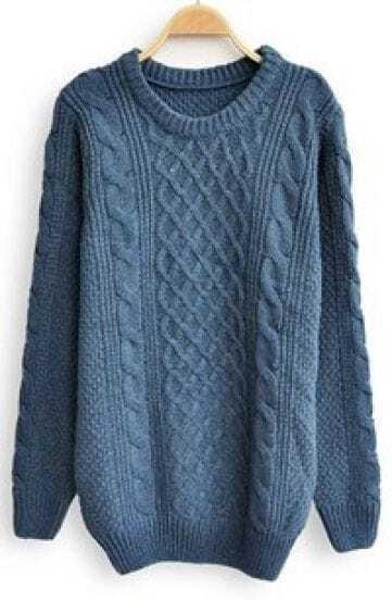 Blue Long Sleeve Serratula Loose Pullovers Sweater