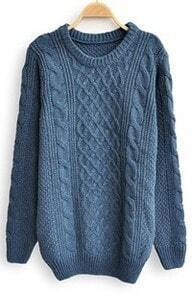 Blue Long Sleeve Serratula Loose Pullovers Sweater