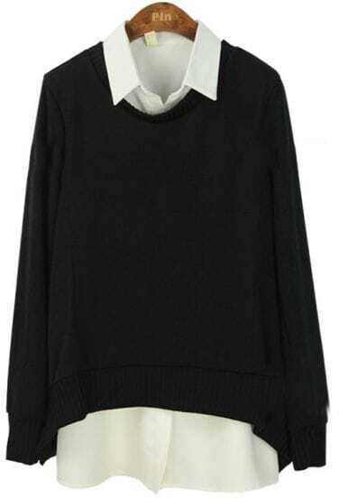 Black Lapel Long Sleeve Loose Two Pieces Sweater