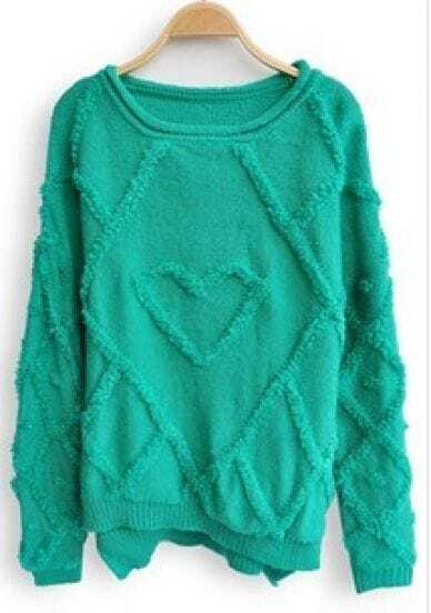 Green Long Sleeve Geometric Embroidery Pullovers Sweater