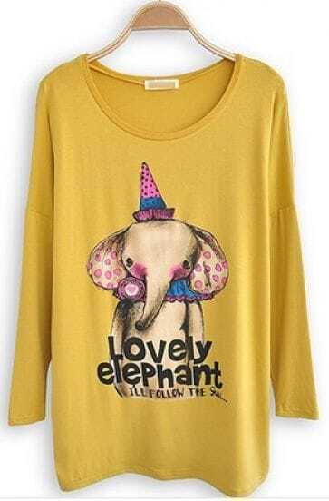 Yellow Long Sleeve Elephant Print Cartoon T-Shirt