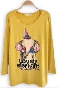 Yellow Long Sleeve Elephant Print Cartoon T-Shirt