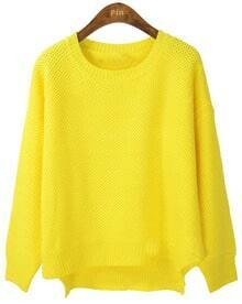 Yellow Long Sleeve Asymmetrical Pullovers Sweater