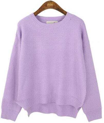Purple Long Sleeve Asymmetrical Pullovers Sweater